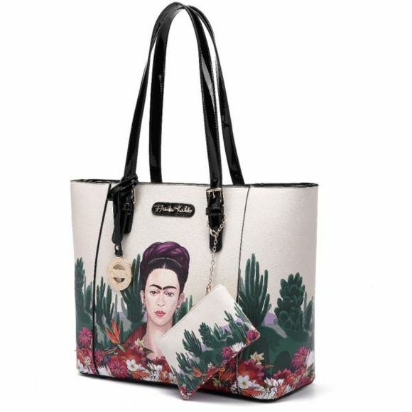 Authentic Frida Kahlo Large Tote & Coin Purse Set